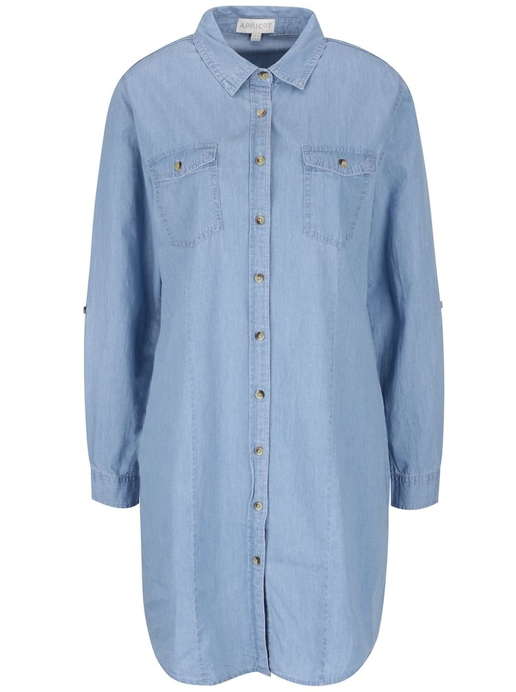 Rochie cămașă albastru deschis Apricot din denim