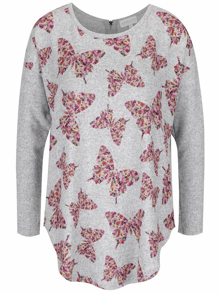 Šedý volný žíhaný svetr s motivem motýlů a zipem na zádech Apricot