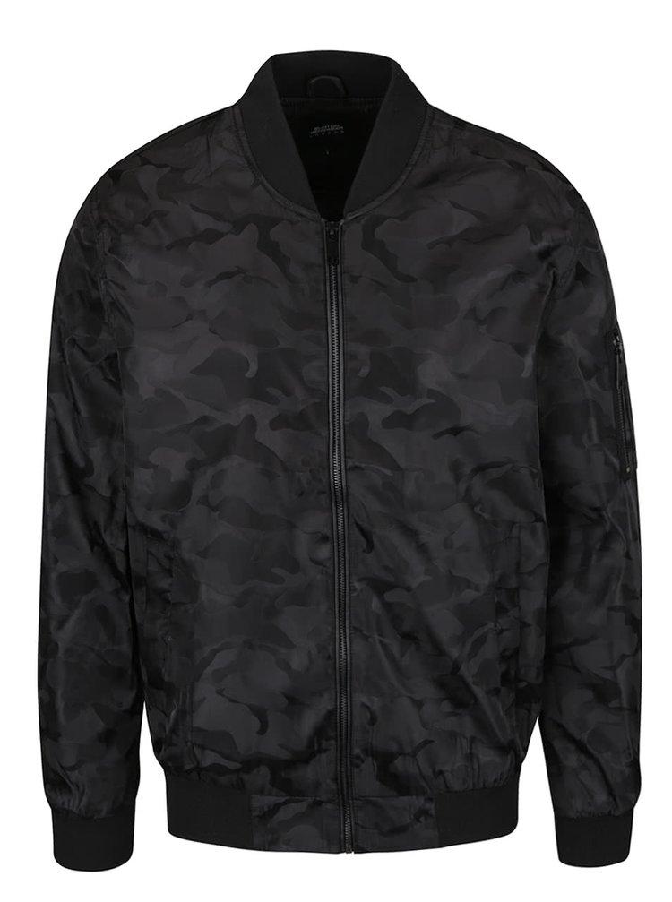 Jachetă bomber neagră Burton Menswear London cu model camuflaj