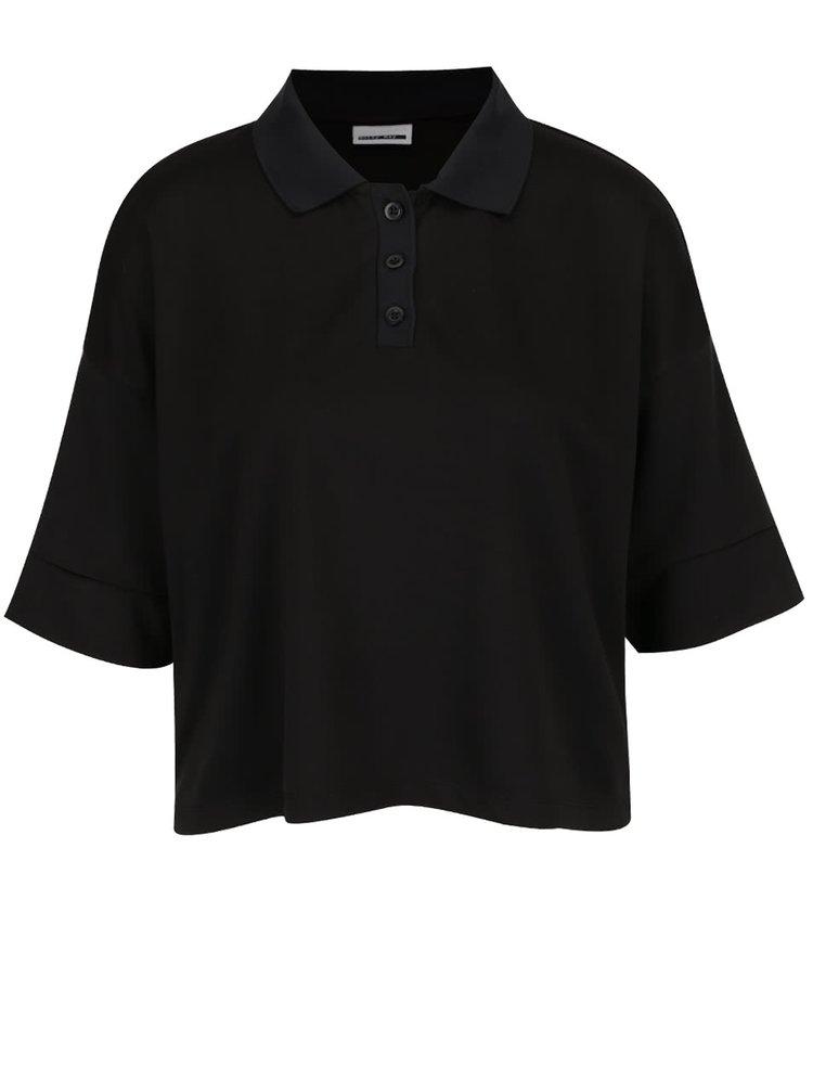 Tricou polo negru oversized scurt Noisy May Rain