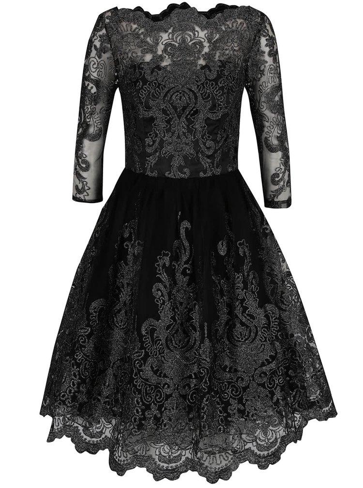 Černé krajkové šaty s 3/4 rukávy a detaily ve stříbrné barvě Chi Chi London Lottie
