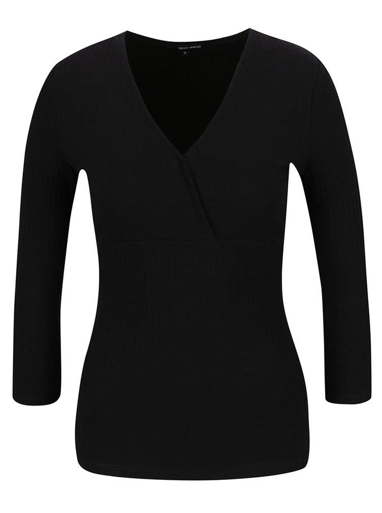 Bluză neagră TALLY WEiJL cu decolteu în v