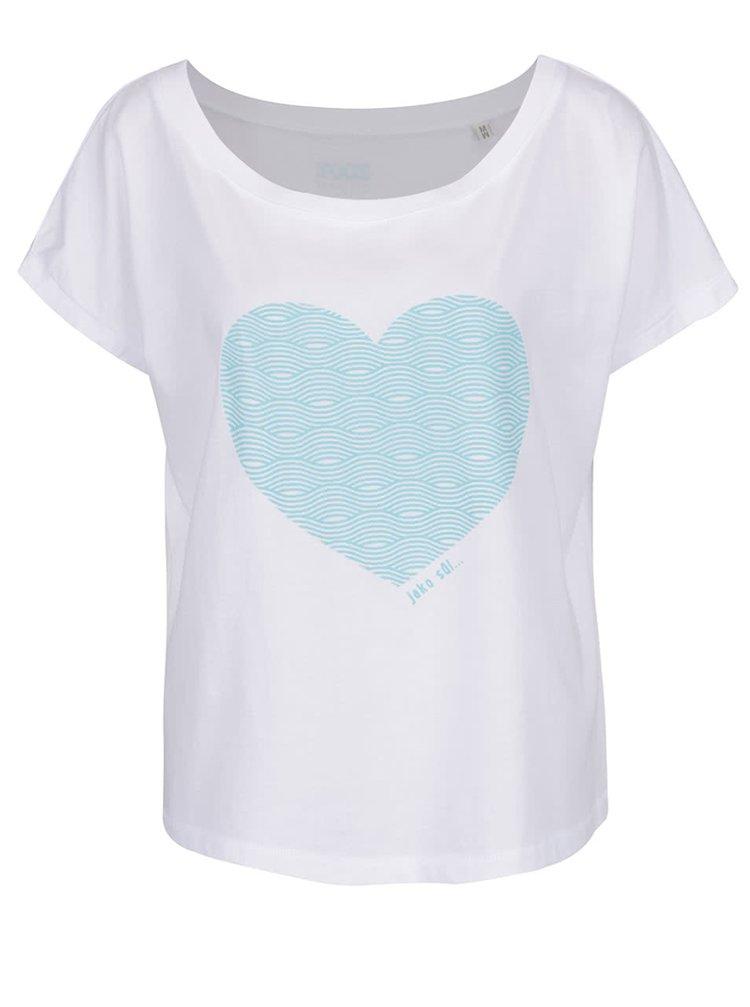 Tricou alb de damă ZOOT Original cu heart print