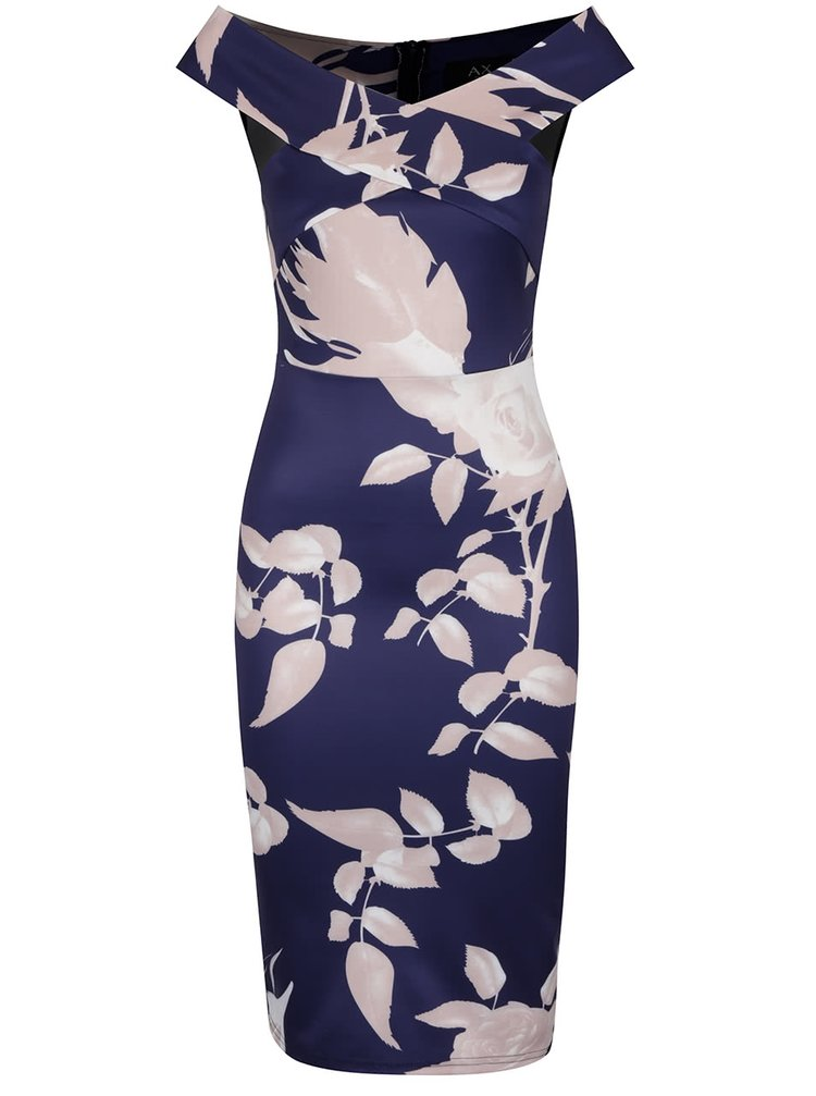Tmavě modré šaty s potiskem růží AX Paris