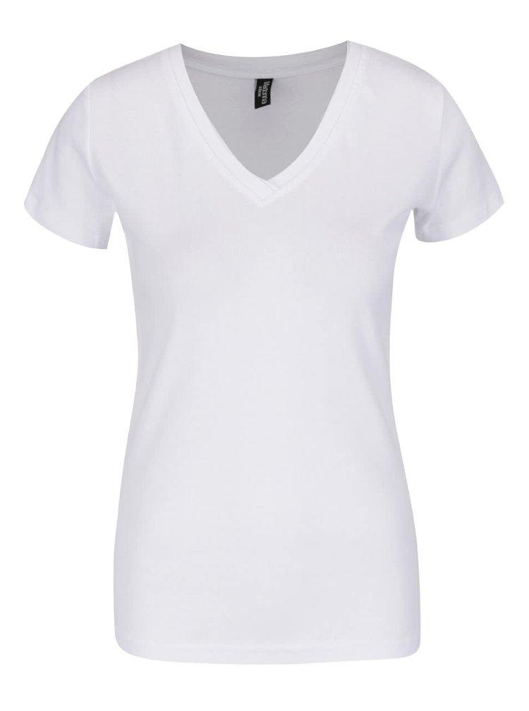 Bílé tričko s véčkovým výstřihem Madonna Basic