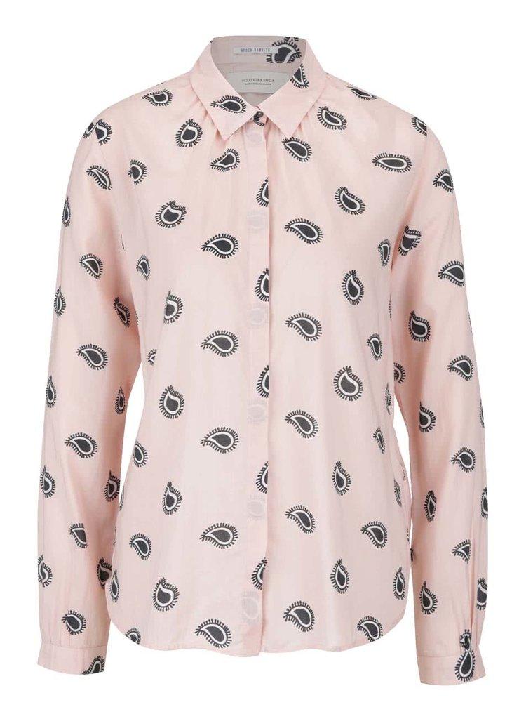 Svetloružová vzorovaná košeľa Scotch & Soda
