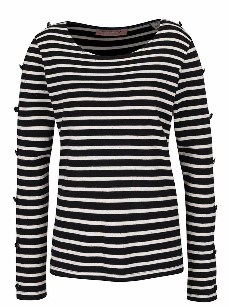 Krémovo-černé pruhované tričko s knoflíky na rukávech Scotch & Soda