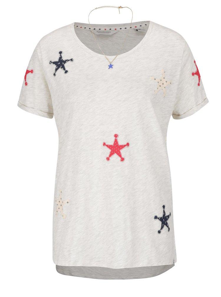 Béžové žíhané tričko s nášivkami ve tvaru hvězd Maison Scotch
