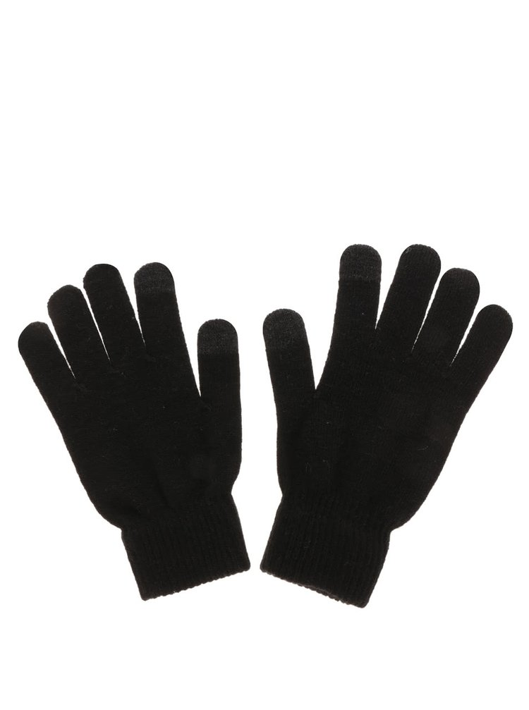 Čierne dotykové rukavice na smartfóny Pieces New Buddy