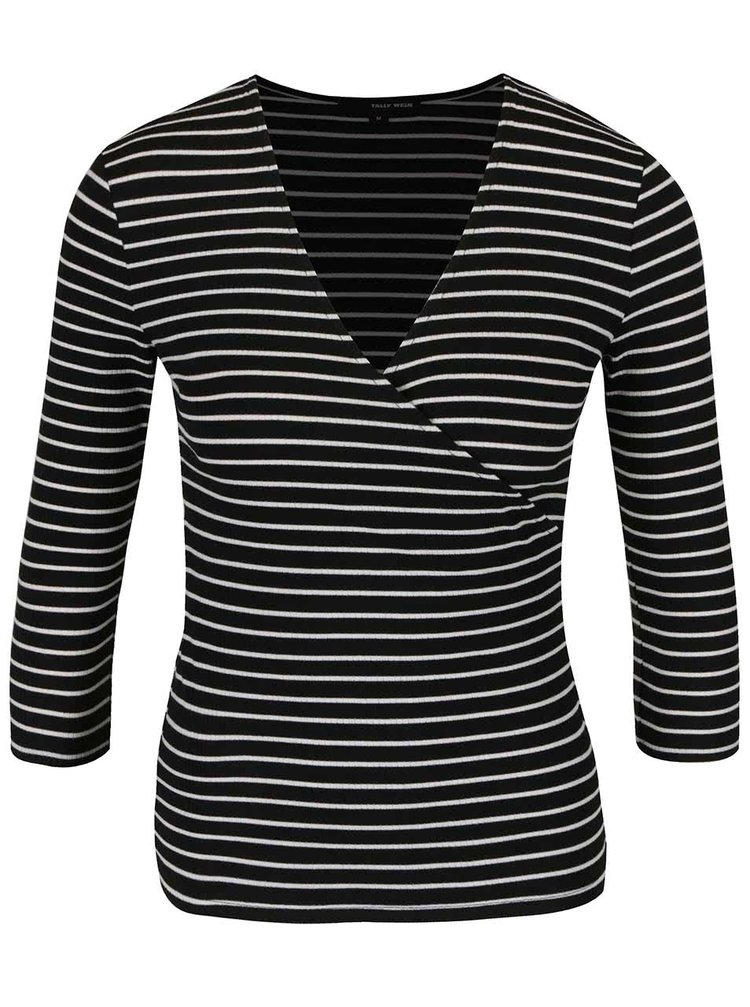 Černé pruhované tričko s překládaným výstřihem TALLY WEiJL