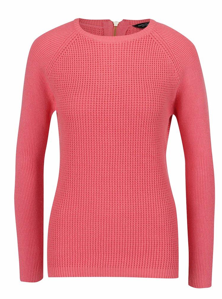 Růžový svetr s ozdobným zipem Dorothy Perkins