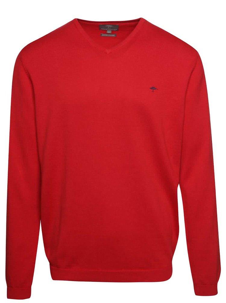 Pulover roșu Fynch-Hatton din bumbac cu decolteu en-coeur