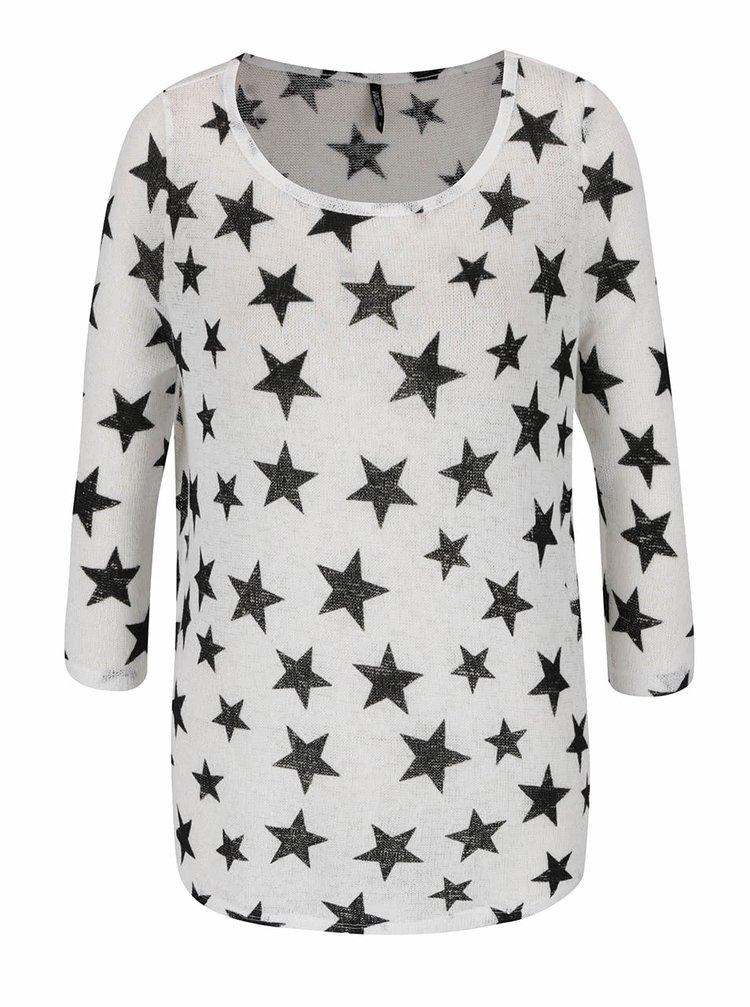 Krémové tričko s potiskem hvězd a 3/4 rukávem Haily's Diana