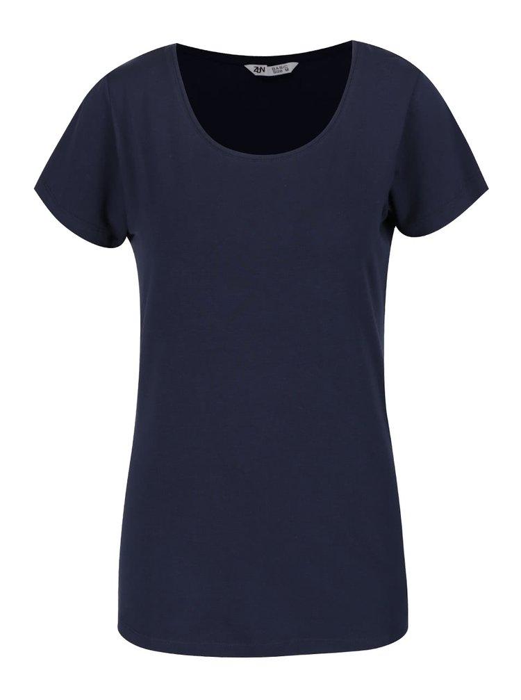 Modré basic tričko s kulatým výstřihem Zabaione Steffi