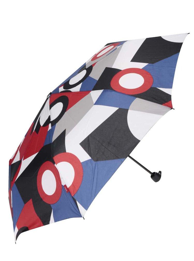Červeno-modrý dámský vzorovaný deštník s.Oliver