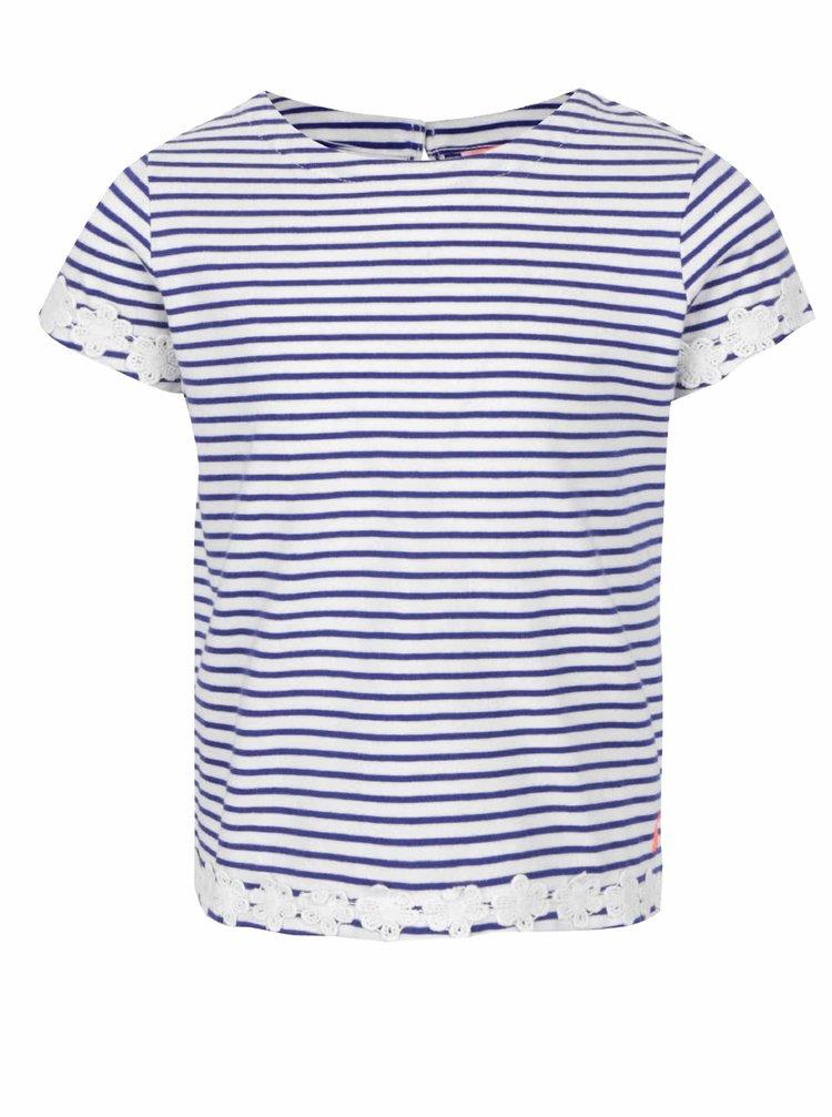Modro-krémové holčičí pruhované tričko s květovanou aplikací Tom Joule