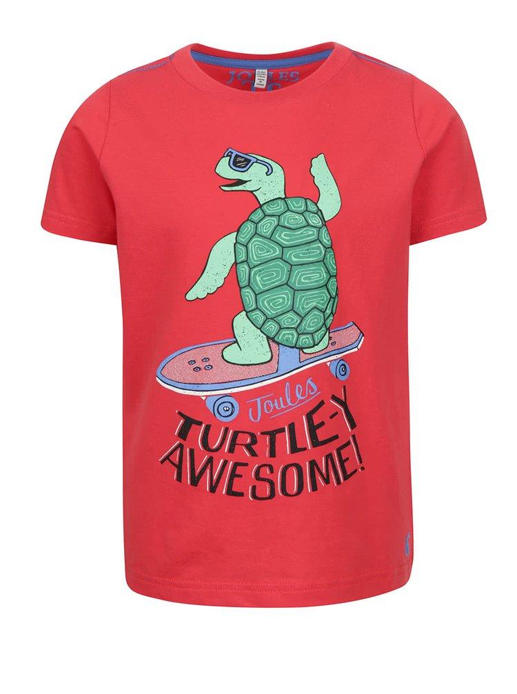 Červené klučičí triko s potiskem želvy Tom Joule