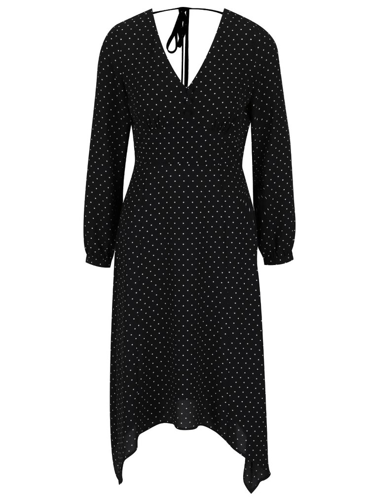 Černé puntíkované šaty s dlouhým rukávem Miss Selfridge
