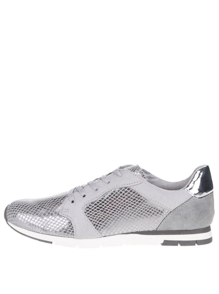 Pantofi sport gri & argintiu Tamaris cu model