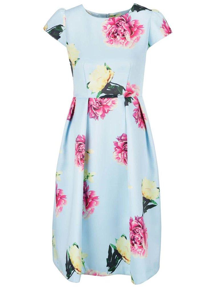 Světle modré květované šaty Wolf & Whistle