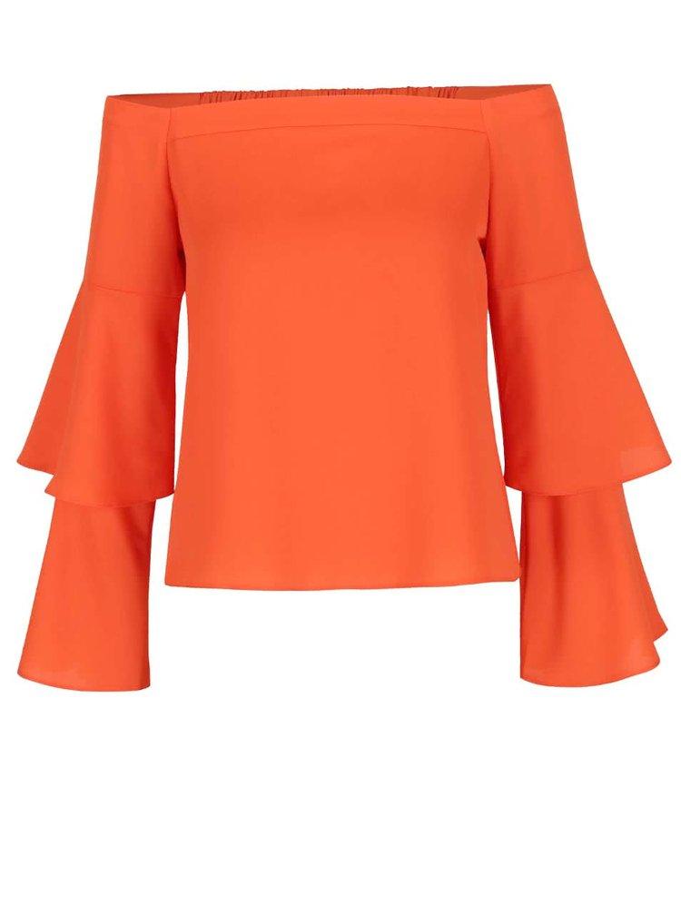 Bluză portocalie Miss Selfridge cu decolteu pe umeri