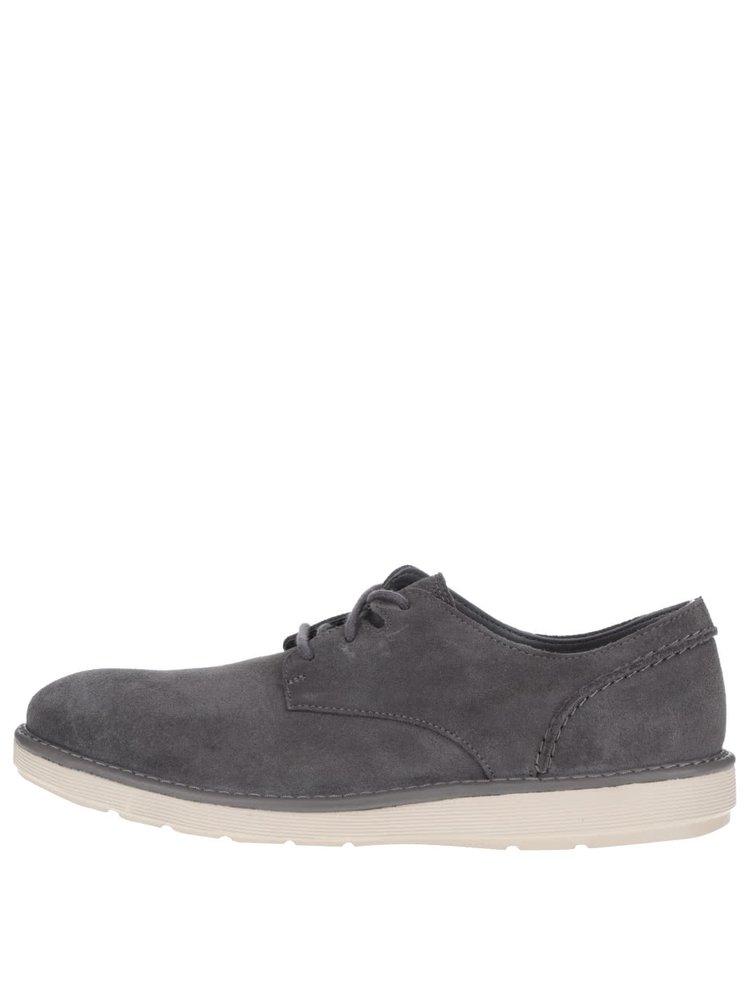 Pantofi gri Clarks Fayeman Lace din piele