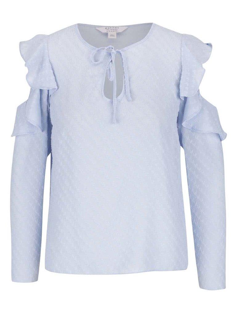 Světle modrá halenka s průstřihy na ramenou Miss Selfridge