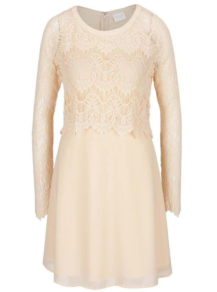 Meruňkové šaty s krajkovým topem a rukávy VILA Melina