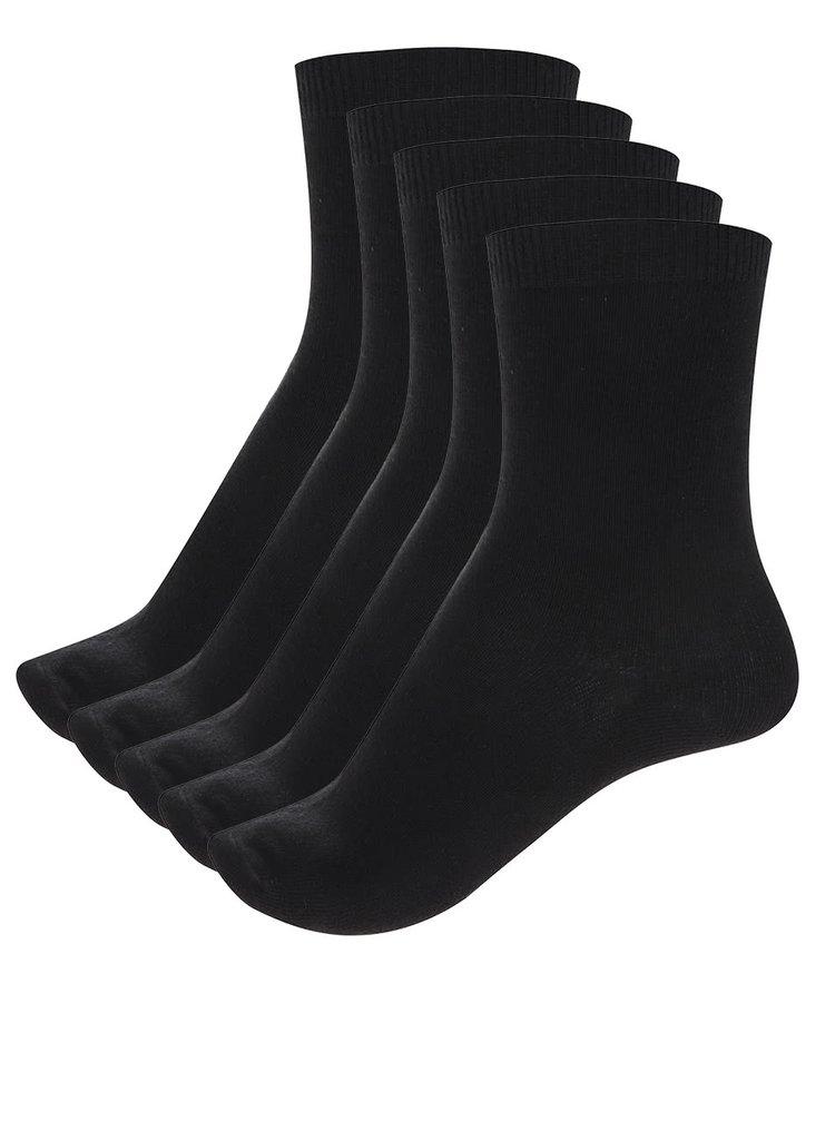 Sada pěti párů ponožek v černé barvě Pieces Emmy