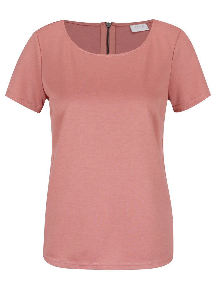 Starorůžové tričko s krátkým rukávem VILA Tinny
