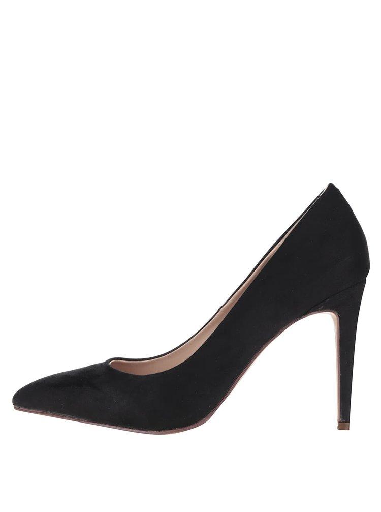 Pantofi negri stiletto Dorothy Perkins cu aspect piele întoarsă