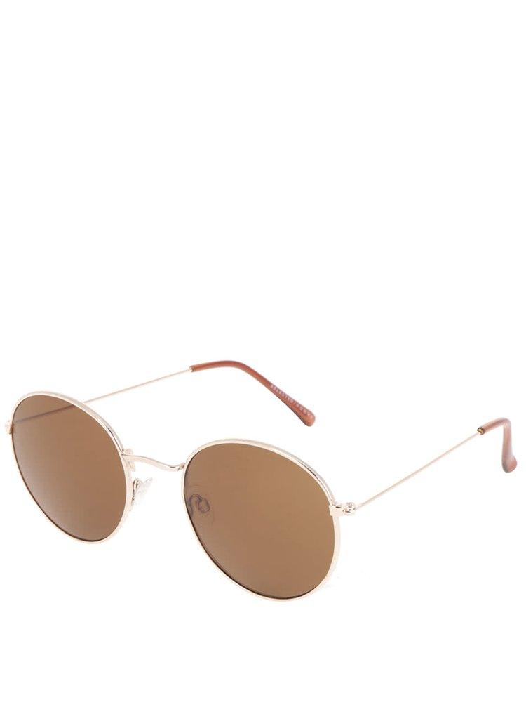 Hnedé slnečné okuliare s obrúčkami v zlatej farbe Selected Homme Bendix