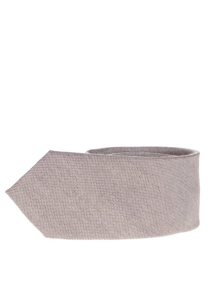 Hnědá hedvábná kravata s jemným vzorem Selected Homme Magne