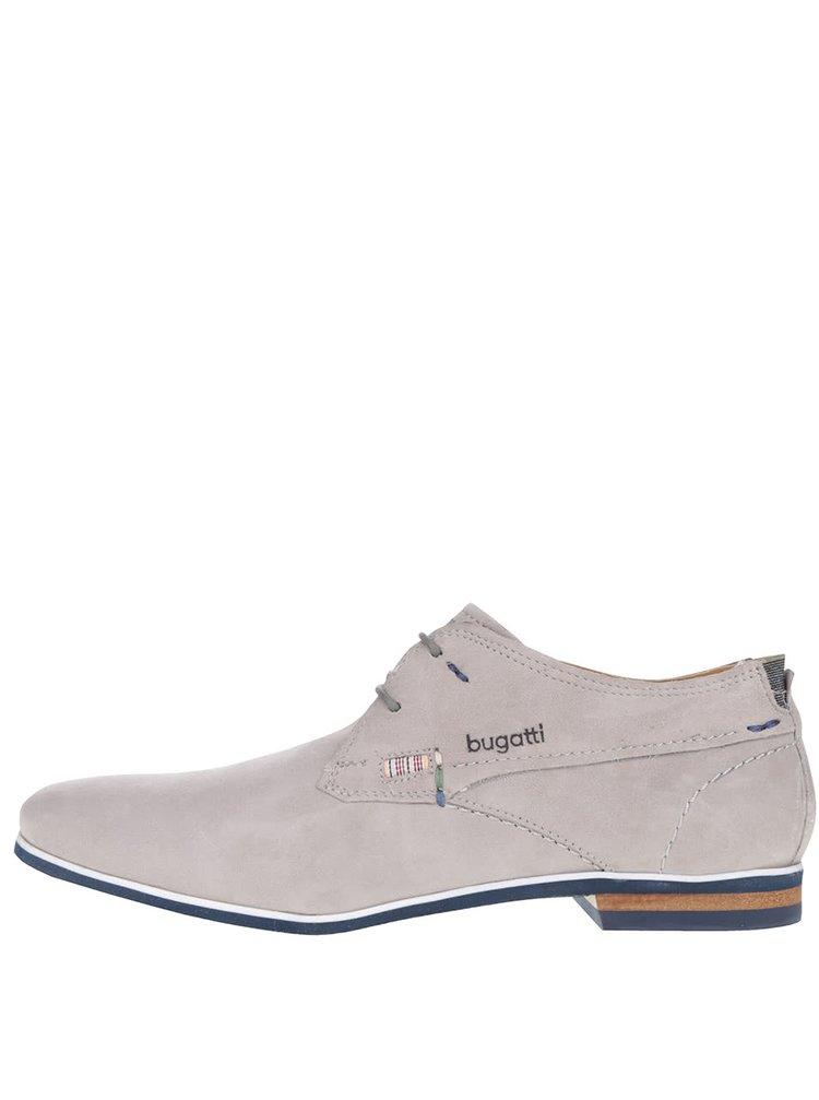 Pantofi gri deschis bugatti Bertoldo din piele întoarsă