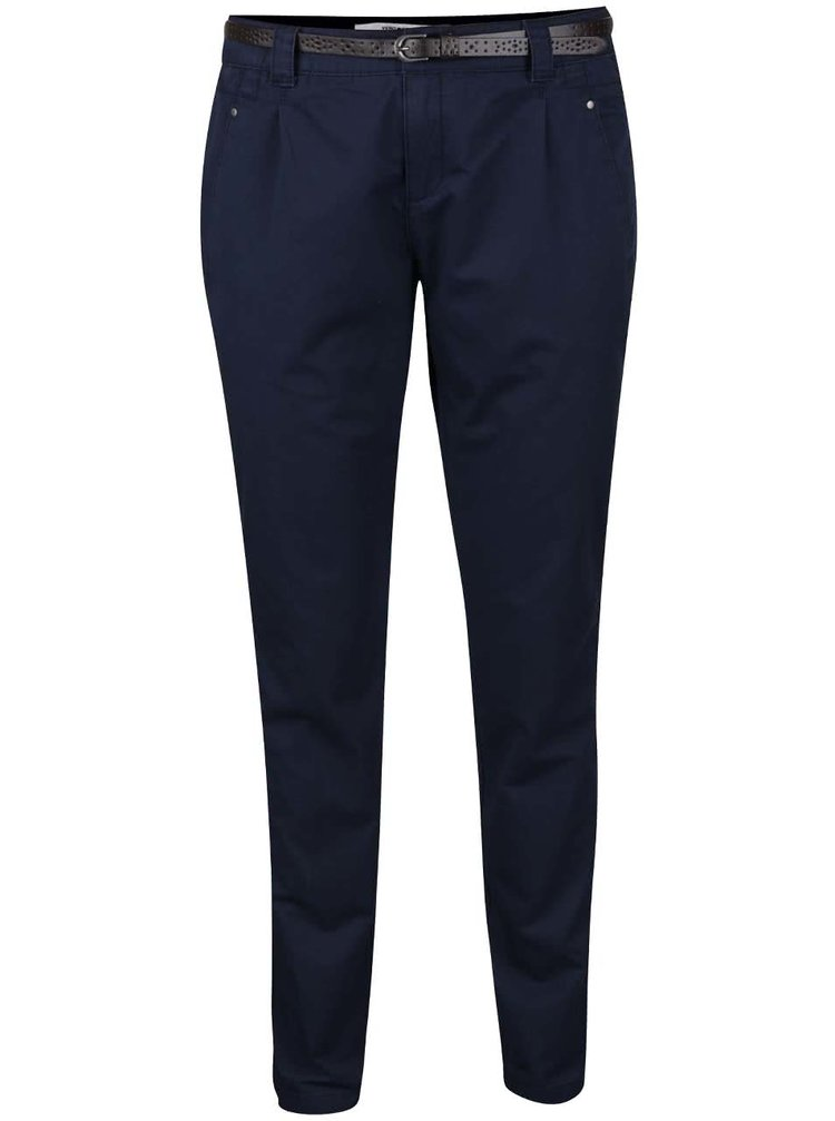 Tmavě modré chino kalhoty s páskem VERO MODA Boni