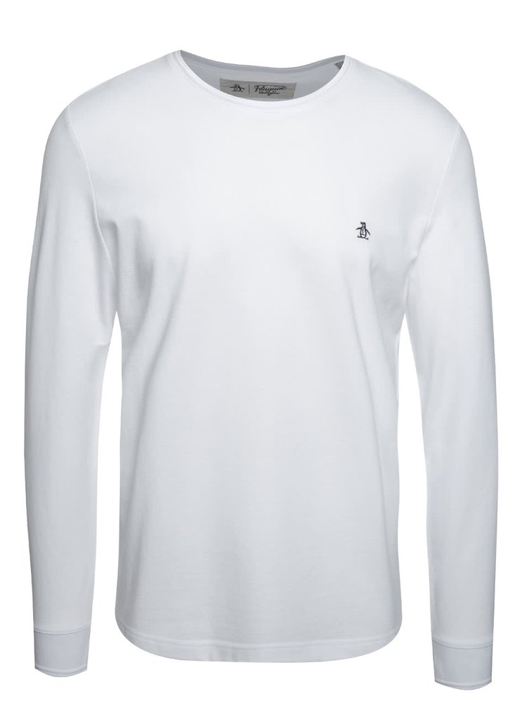 Bluză albă Original Penguin Winston din bumbac cu logo