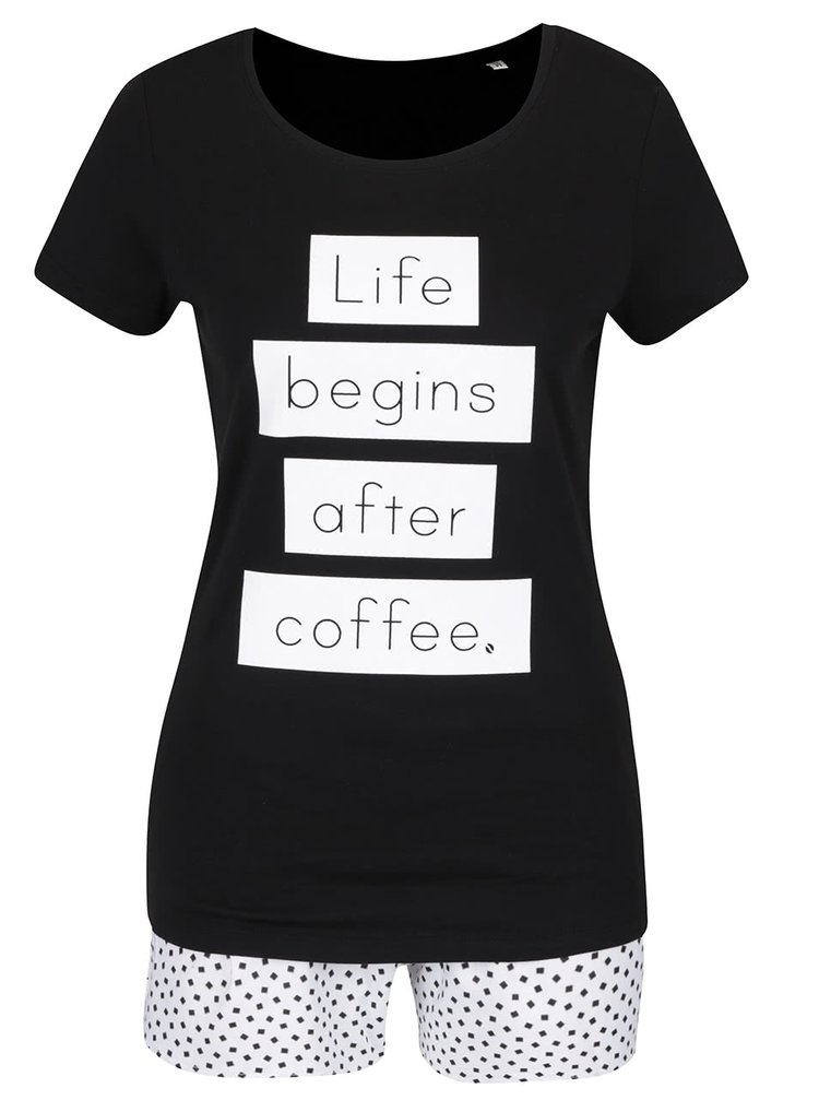 Pijama negru & alb ZOOT Original Life begins after coffee din bumbac cu print si model