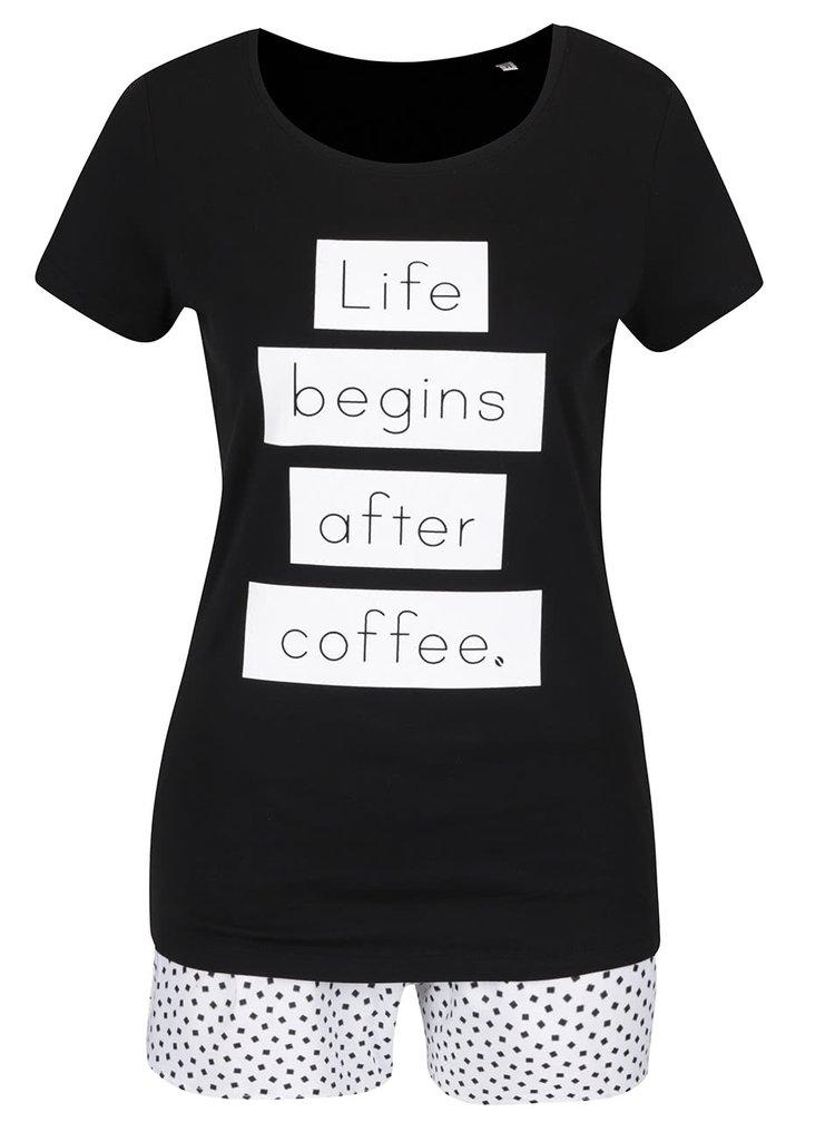 Pijama negru & alb ZOOT Original Life begins after coffee din bumbac cu print și model