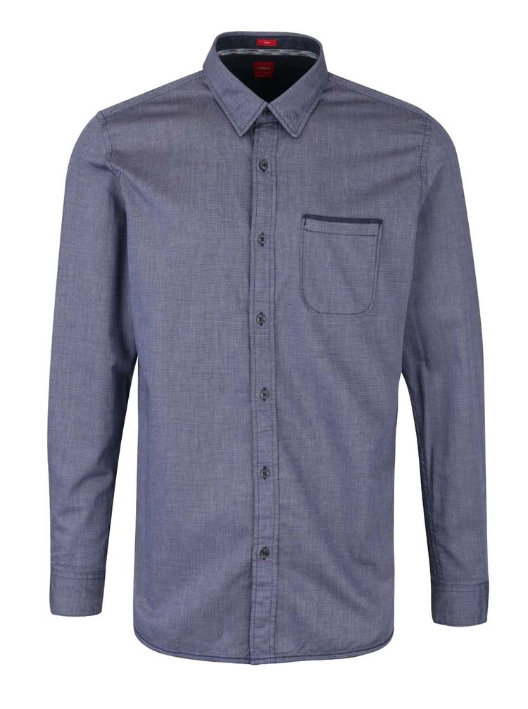 Modrá pánská slim fit košile s kapsou s.Oliver