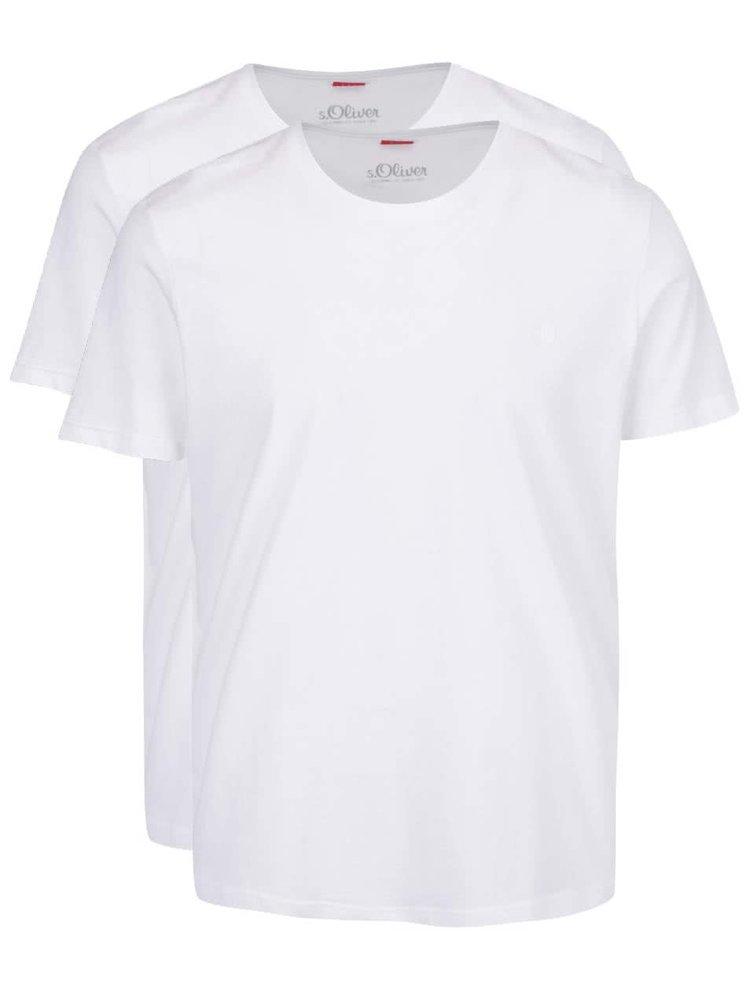 Set de 2 tricouri albe s.Oliver din bumbac pentru bărbați