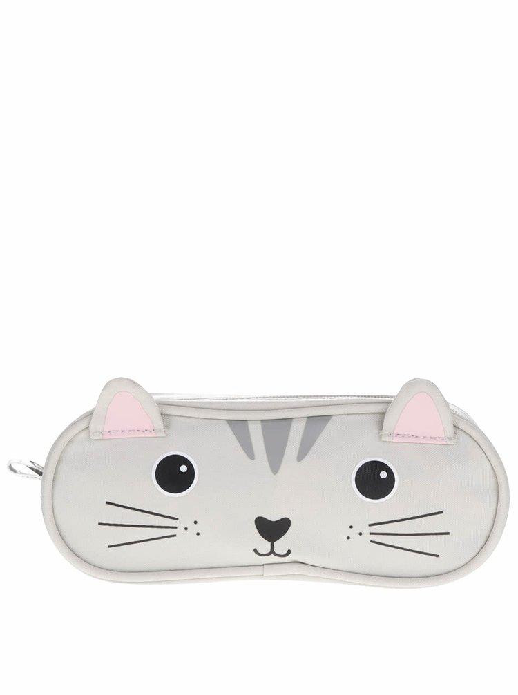 Šedý penál s motivem kočky Sass & Belle Nori Cat