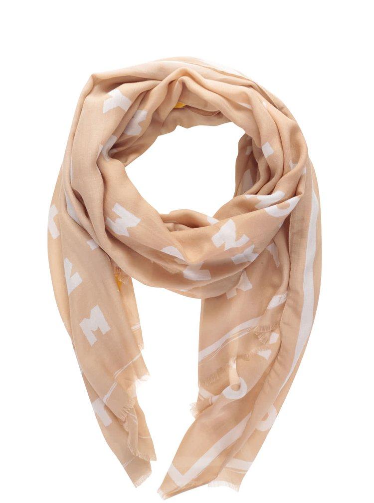 Bílo-béžový dámský šátek s potiskem Tommy Hilfiger