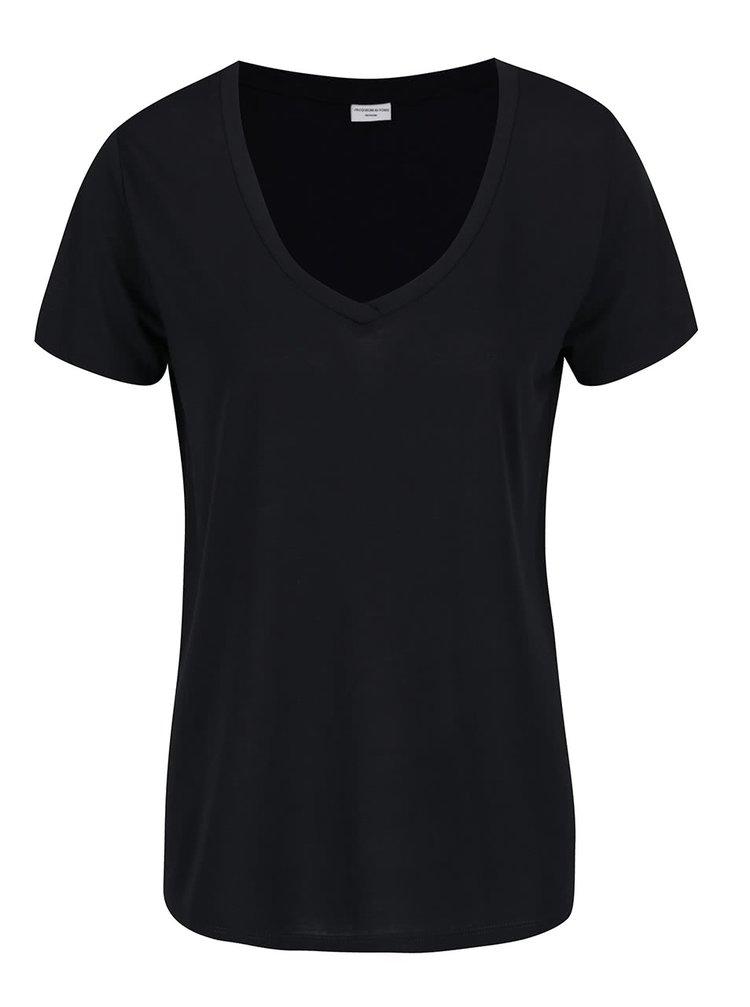 Tricou negru cu decolteu en coeur Jacqueline de Yong Spirit