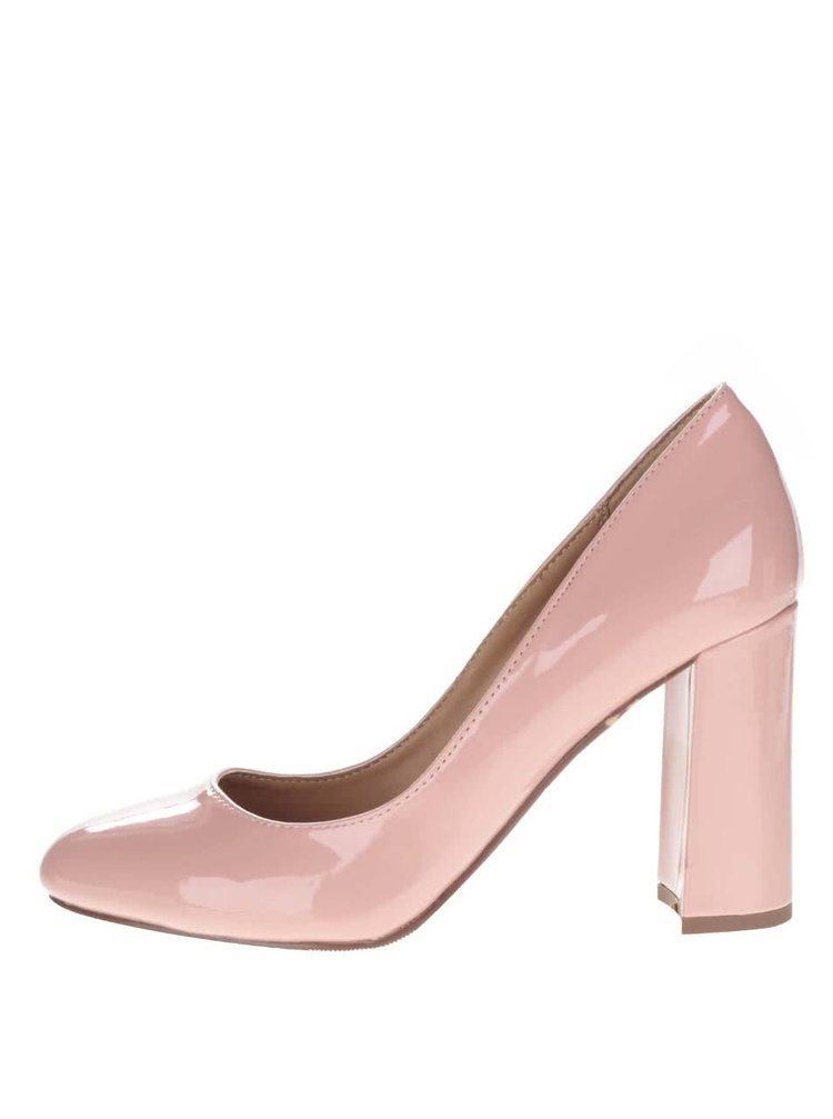 Pantofi roz cu toc Dorothy Perkins cu aspect lacuit