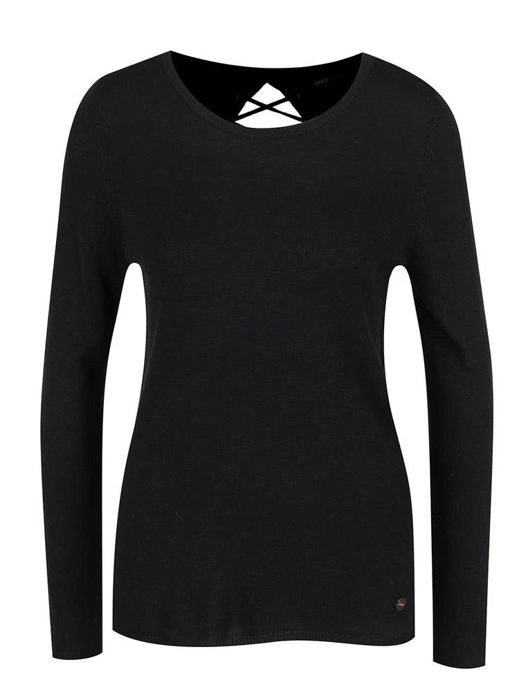 Bluză neagră ONLY Cosy cu șireturi la spate