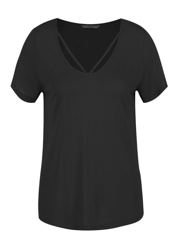 Černé tričko s pásky v dekoltu ONLY Alva