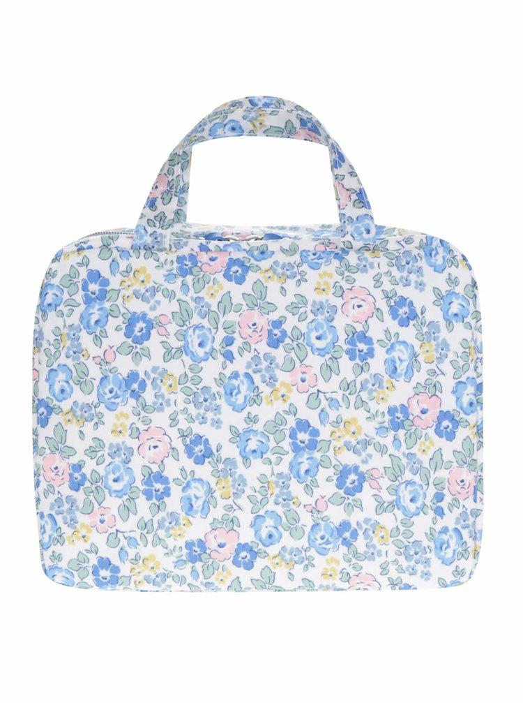 Modro-krémová kvetovaná kozmetická taštička Cath Kidston