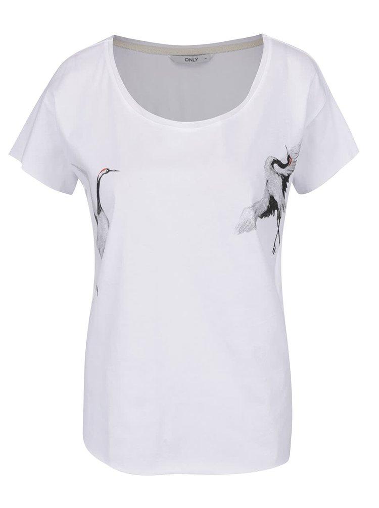 Bílé tričko s potiskem ONLY Draw Cranes