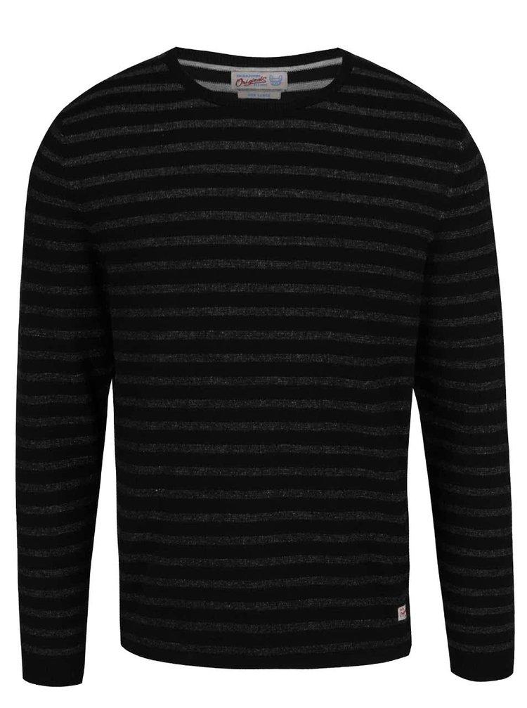 Černý pruhovaný svetr Jack & Jones Leo