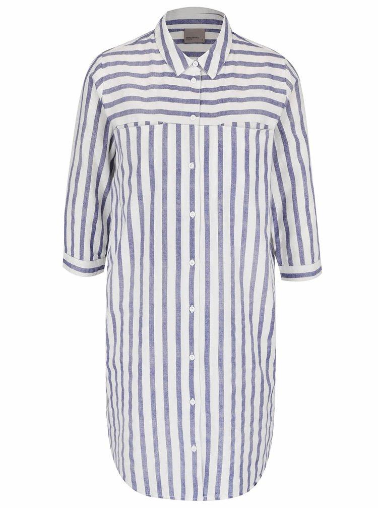 Krémová dlouhá košile s tmavě modrými pruhy VERO MODA Stripy